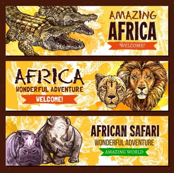African Animals Vector Poster for Safari Adventure - Animals Characters