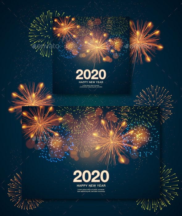 Christmas Poster with Fireworks - New Year Seasons/Holidays