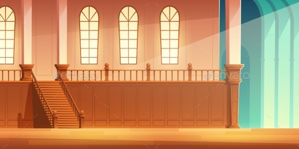 Castle Cathedral Hall with Balcony Cartoon Vector - Buildings Objects