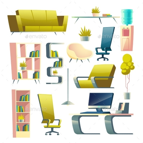 House or Apartment Furniture Cartoon Vector Set - Man-made Objects Objects