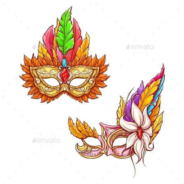 Mardi Gras Carnival Face Mask Realistic Vector - Decorative Symbols Decorative