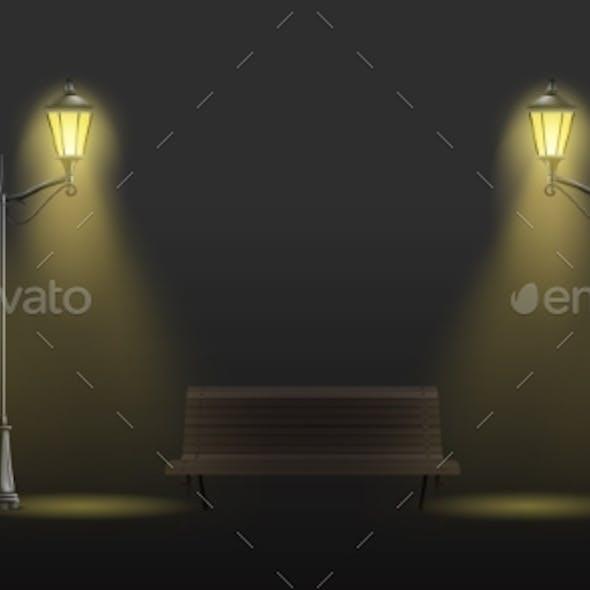 Retro Street Lights Lantern Realistic Vector Set