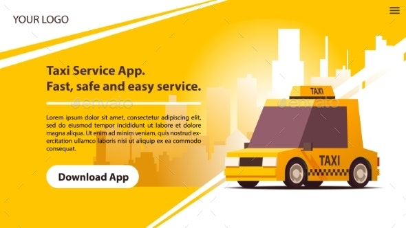 Taxi Services Mobile App with Yellow Cab - Man-made Objects Objects
