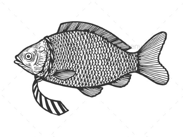 Fish in Necktie Sketch Engraving Vector - Animals Characters