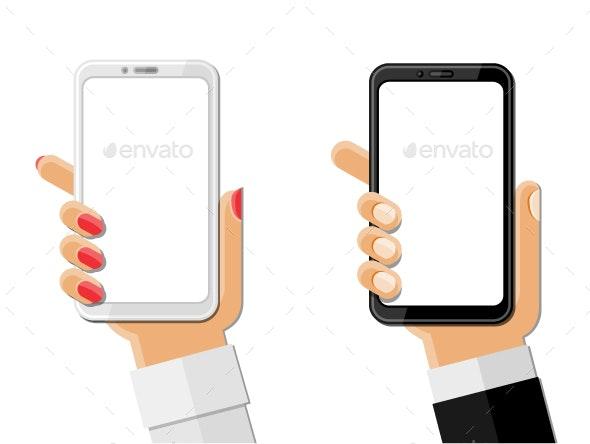 Hands Holding Smartphones - Communications Technology
