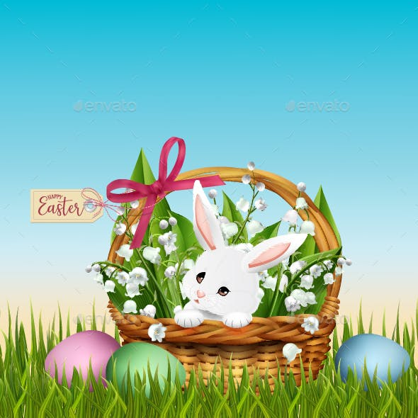 Easter Basket with Bunny in Grass