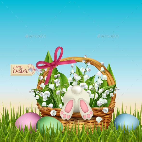 Easter Wicker Basket in Grass with Rabbit