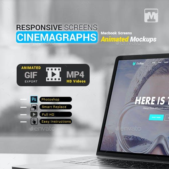 Responsive Cinemagraphs Animated Screens-Macbook