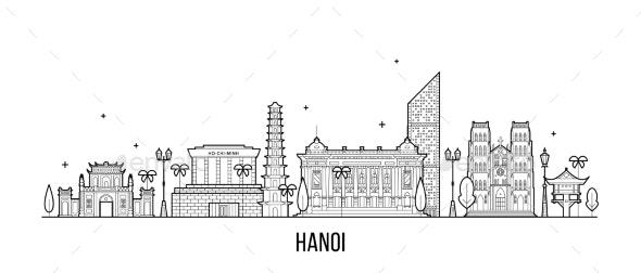 Hanoi Skyline Vietnam City Buildings Vector Linear - Buildings Objects