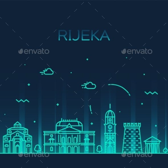 Rijeka Skyline Croatia Vector City Linear Style