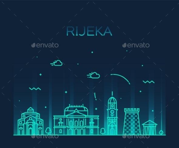 Rijeka Skyline Croatia Vector City Linear Style - Buildings Objects