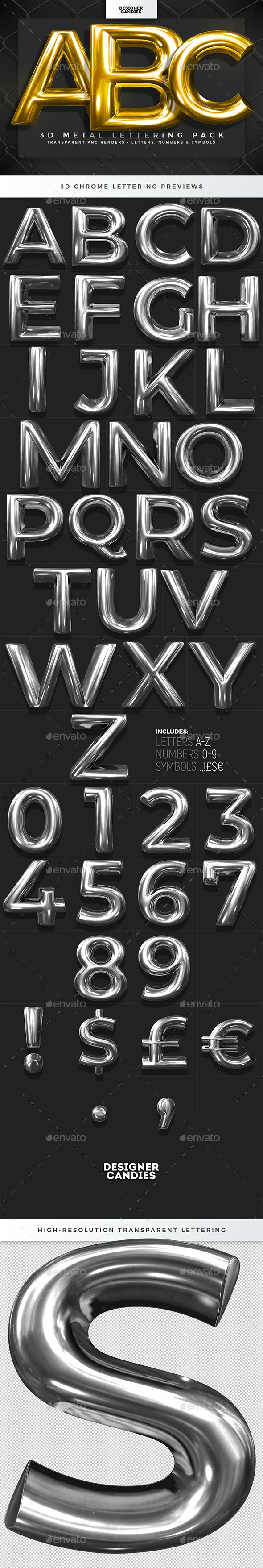 3D Metal Lettering Pack - Text 3D Renders