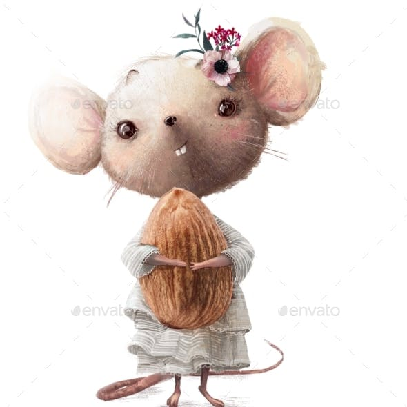 Cute Little Mouse Girl with Almond