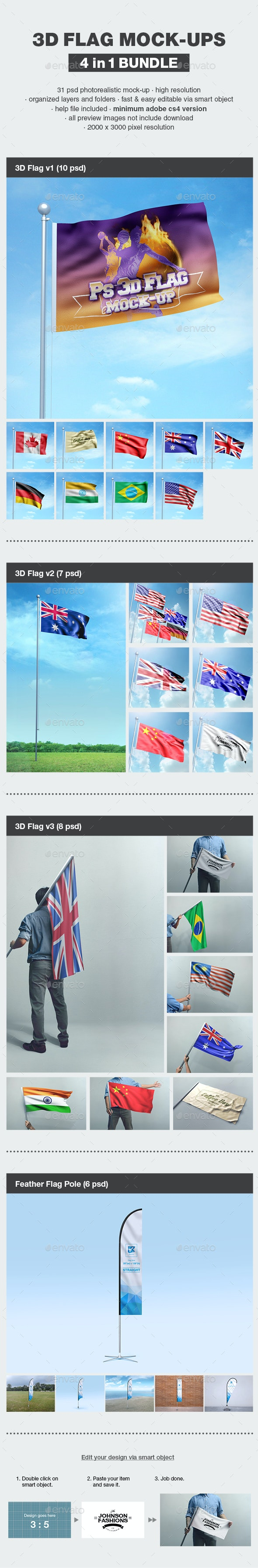 3D Flag Mock-up Bundle - Product Mock-Ups Graphics