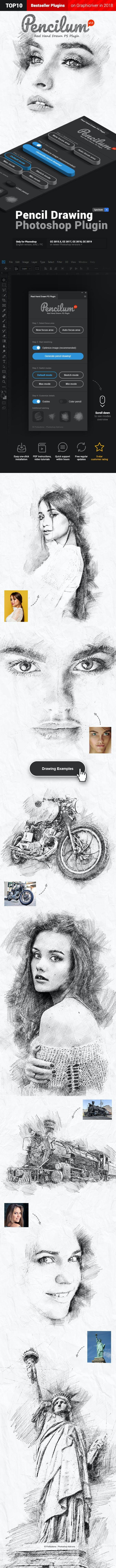 Pencilum - Real Hand Drawn Photoshop Plugin