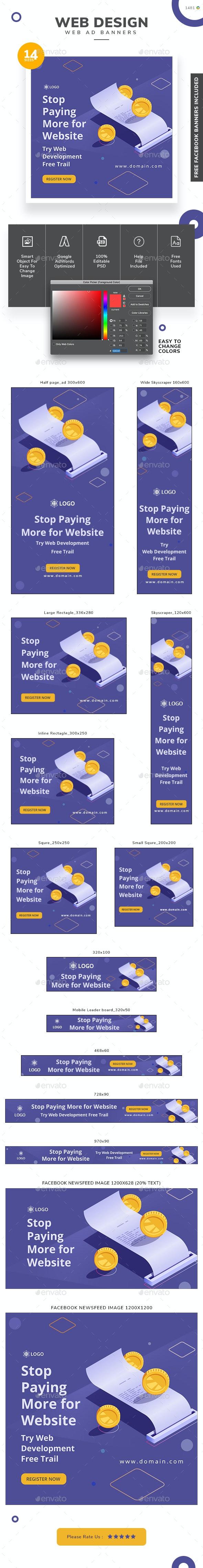 Web Design Banner Set - Banners & Ads Web Elements