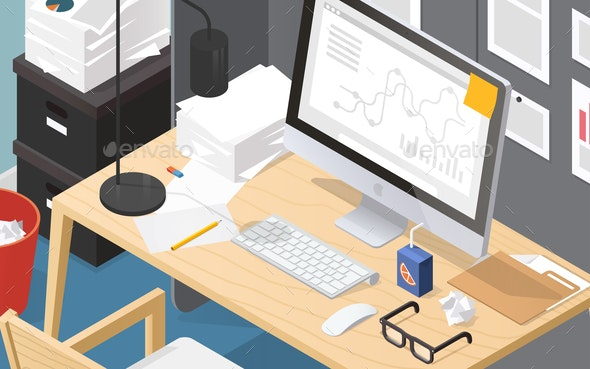 Isometric Office Workplace Illustration - Backgrounds Business