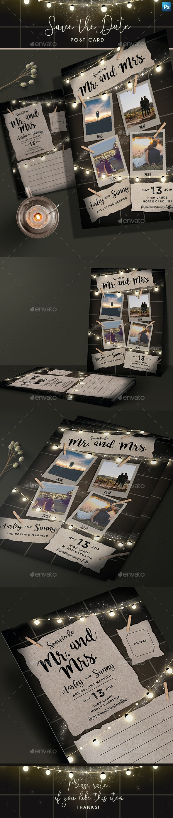 String Lights Save the Date Post Card - Weddings Cards & Invites