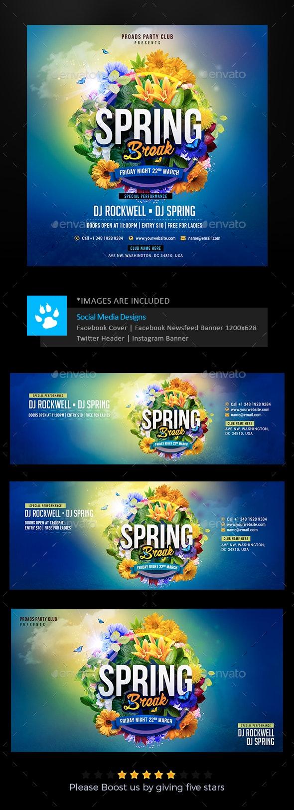 Spring Social Media Pack - Social Media Web Elements