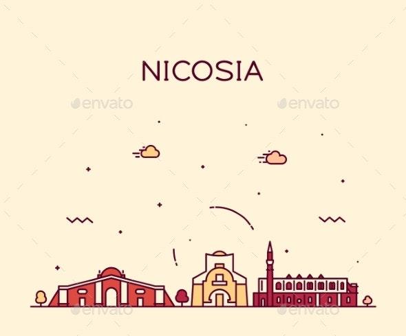 Nicosia Skyline Cyprus Vector City Linear Style - Buildings Objects