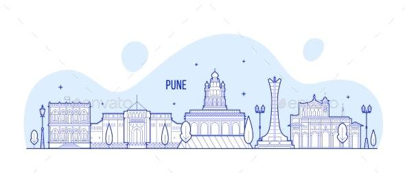 Pune Skyline Maharashtra India City Linear Vector - Buildings Objects