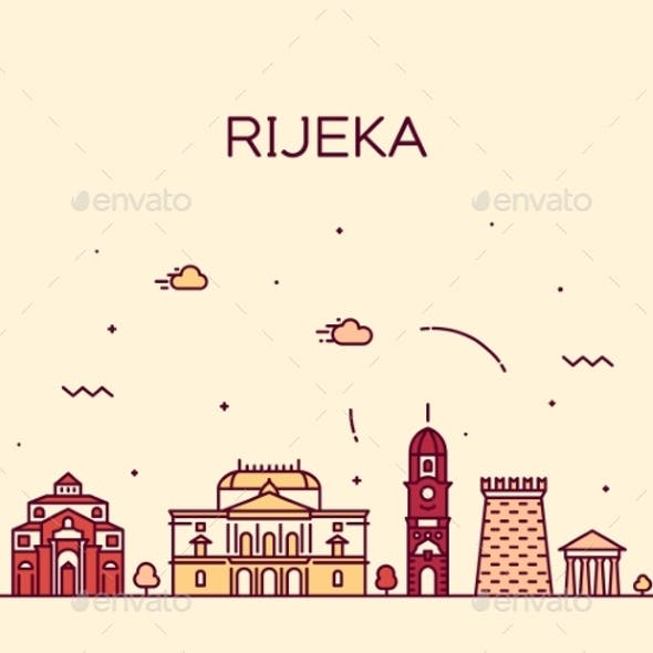 Rijeka Skyline Croatia Vector City Linear Style