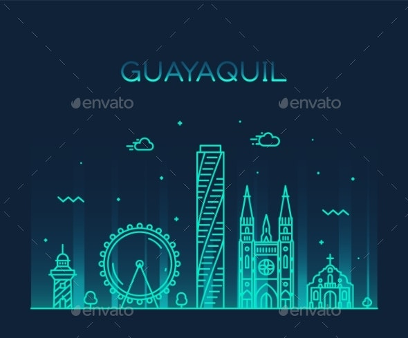 Guayaquil Skyline Ecuador Vector Linear Style City - Buildings Objects