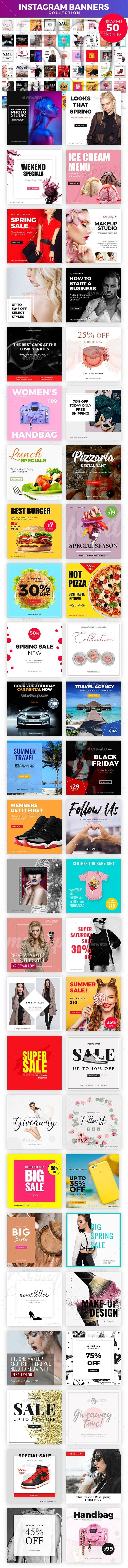 50 Instagram Banners - Social Media Web Elements