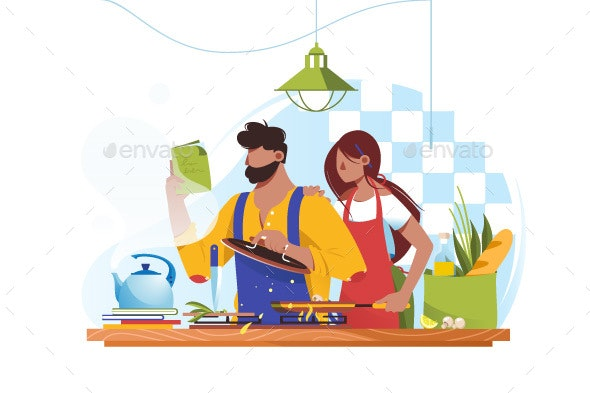 Flat Young Man and Woman Couple Cooks Together - Food Objects