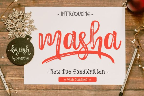 Masha // Duo Handlettered Fonts - Hand-writing Script