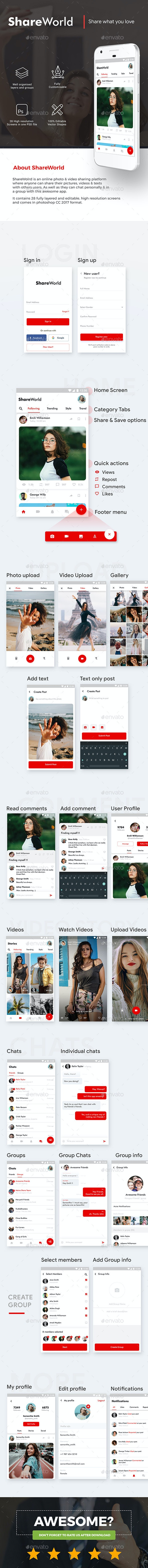 Social App with Video Story, Chats & Group Chats App UI | Share World - User Interfaces Web Elements