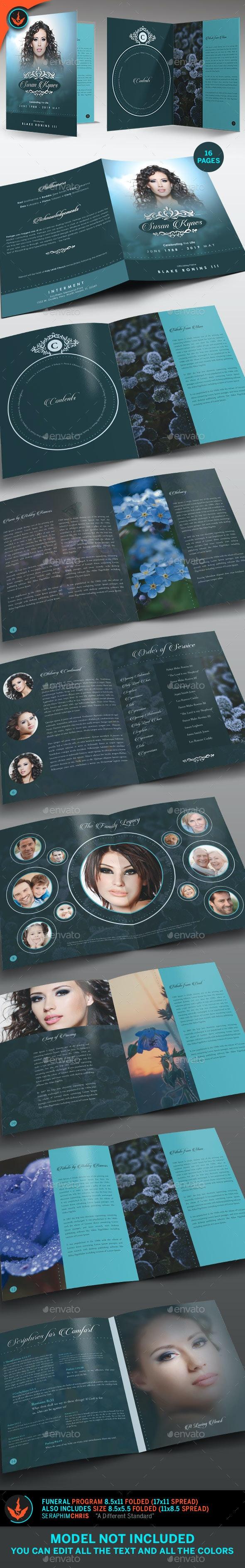 Celebrity Funeral Program: Bi-Fold Template - Informational Brochures