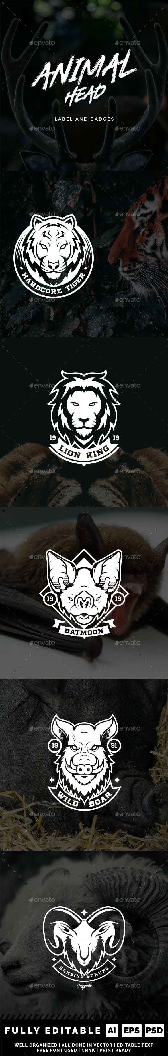 Animal Head Label and Badges - Badges & Stickers Web Elements