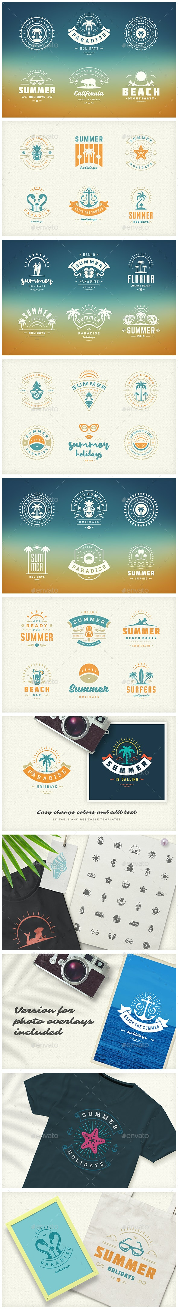 Summer Holidays Emblems & Badges - Badges & Stickers Web Elements