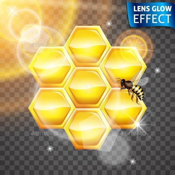 Lens Glow Effect Honey Bank and Bee - Animals Characters