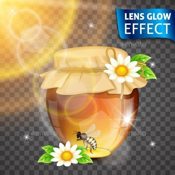 Lens Glow Effect Honey and Bee