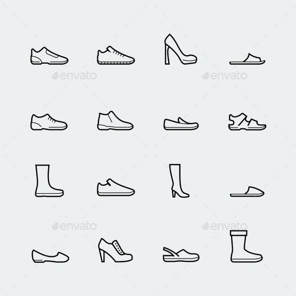 Shoes Vector Icon Set in Thin Line Style - Man-made objects Objects