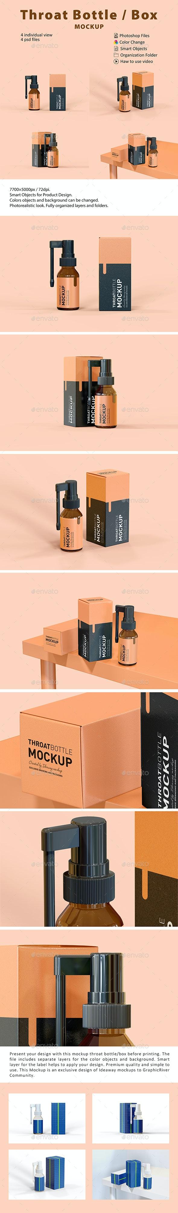 Throat Bottle Box Mockup - Beauty Packaging