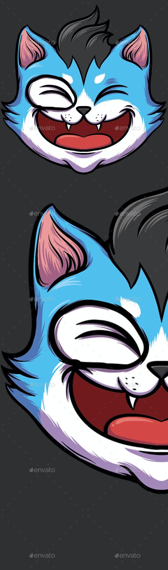 Vector Cat Emblem - Animals Characters