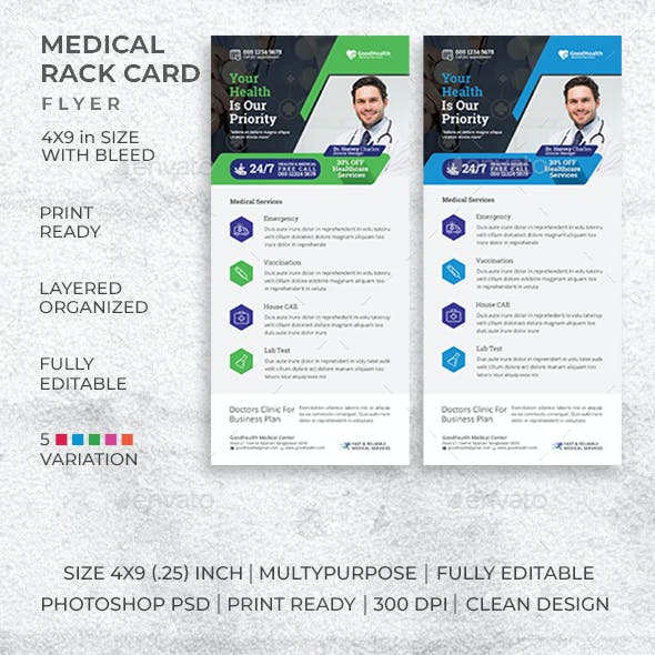 DL Medical Rack Card Template