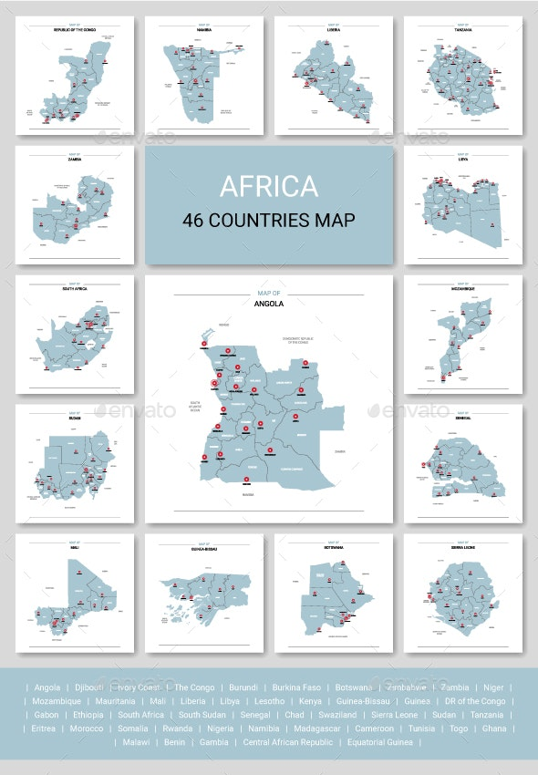 Africa Map - 46 Countries Map - Miscellaneous Vectors