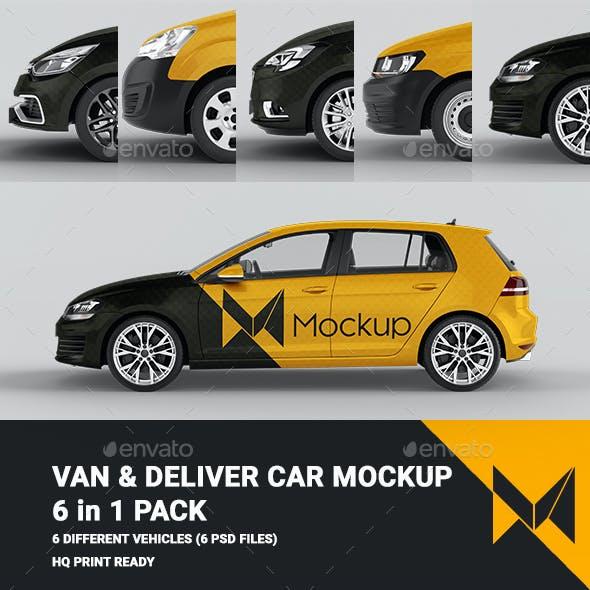 Van & Delivery Cars Mockup 6 in 1 Pack