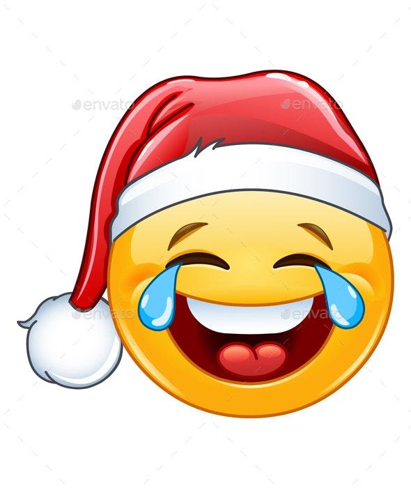 Tears of Joy Emoticon with Santa Hat - Christmas Seasons/Holidays