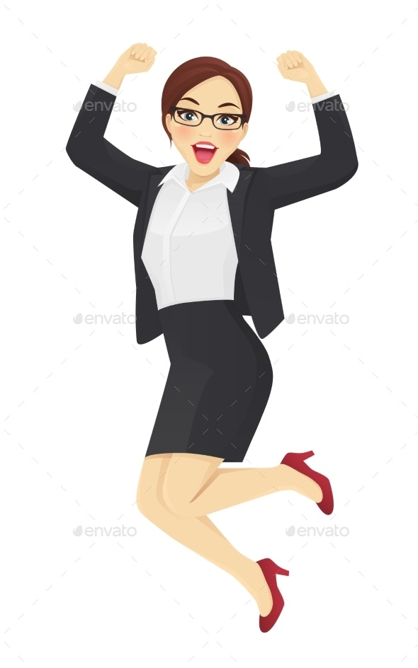 Jumping Business Woman - People Characters
