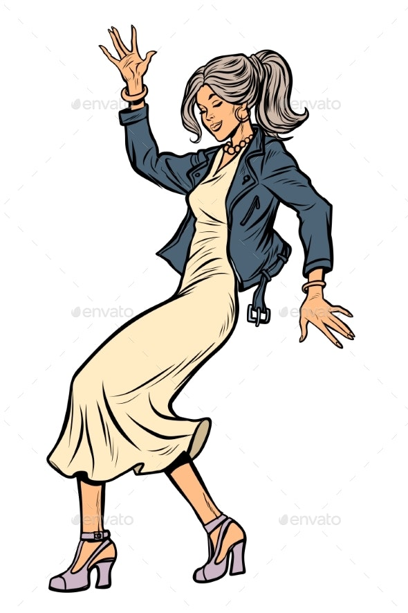 Girl in Elegant Dress Woman Disco Dance Isolated - People Characters