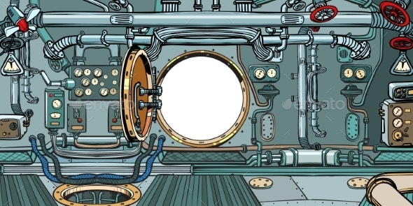 Compartment or Command Deck of a Submarine - Backgrounds Decorative