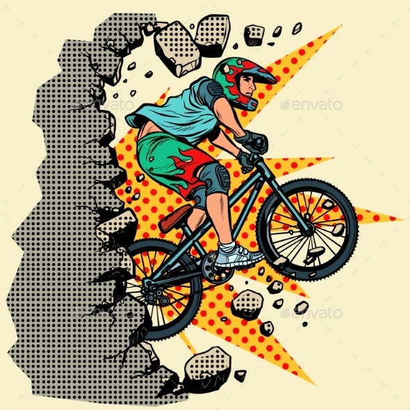 Cyclist Extreme Sports Wall Breaks - Sports/Activity Conceptual