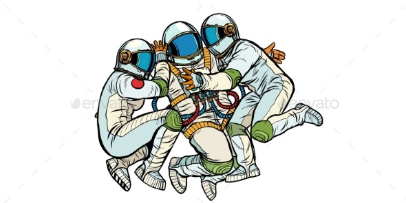 Three Astronauts Hugging - People Characters