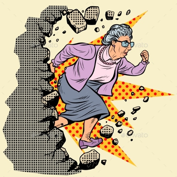 Active Old Granny Pensioner Breaks the Wall - People Characters