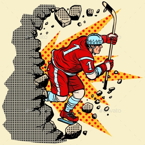 Hockey Player Breaks a Wall - Sports/Activity Conceptual